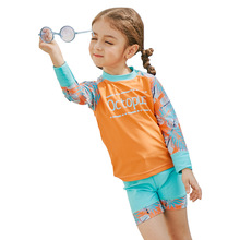 SABOLAY High Elastic Girls Swimwear Long Sleeve Shirts Swimsuit for Girl Kid Children Anti UV Fast Drying Diving Suit