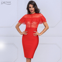 Adyce 2017 Elegant Summer Dress Chic Red Black Lace O Neck Short Sleeve Party Dress Sexy
