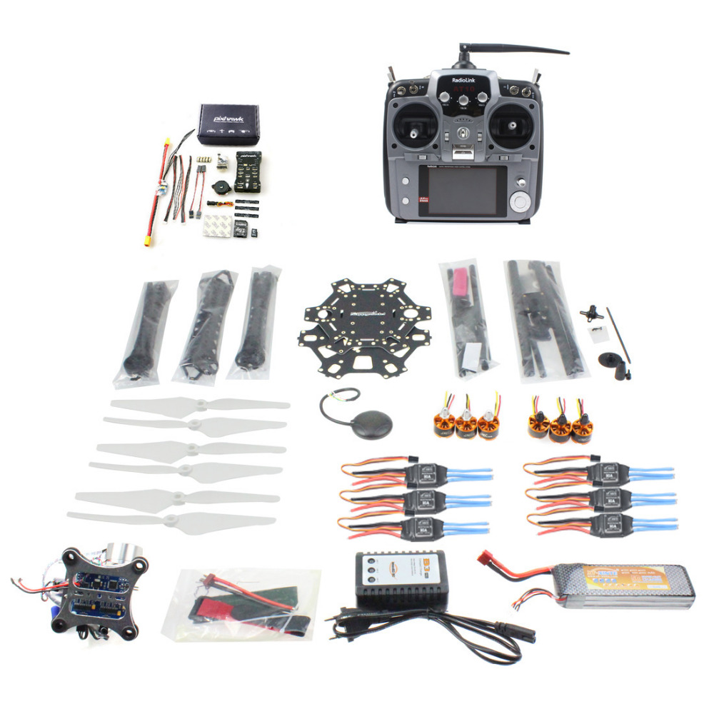 купить F08618-S DIY FPV Drone 6-axle Hexacopter Kit HMF S550 Frame PXI PX4 Flight Control 920KV Motor GPS Gimbal AT10 Transmitter недорого