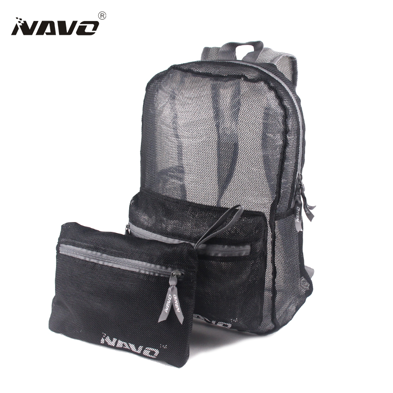 NAVO Transparent Backpack Lightweight Foldable Bagpack See Through Travel Mesh Bag Casual School Bag Folding Backpack see through mesh contrast dress