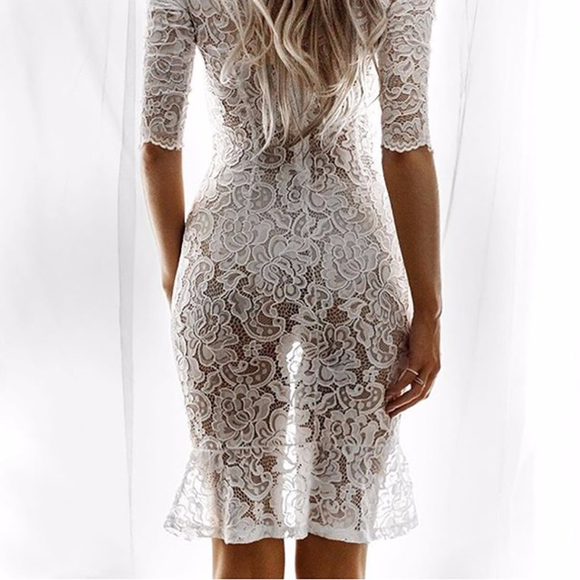 Tengo Brand Women White Lace Dress Summer Sexy See Through Night Club Party Dress Crochet Openwork Dress Female Beach Dress