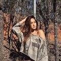 Мода 2016 Женщин Вскользь Камуфляж футболки Три Четверти Топы Тис Slash Шеи Толстовки Сексуальная Пуловеры Рокер Моды Рубашка