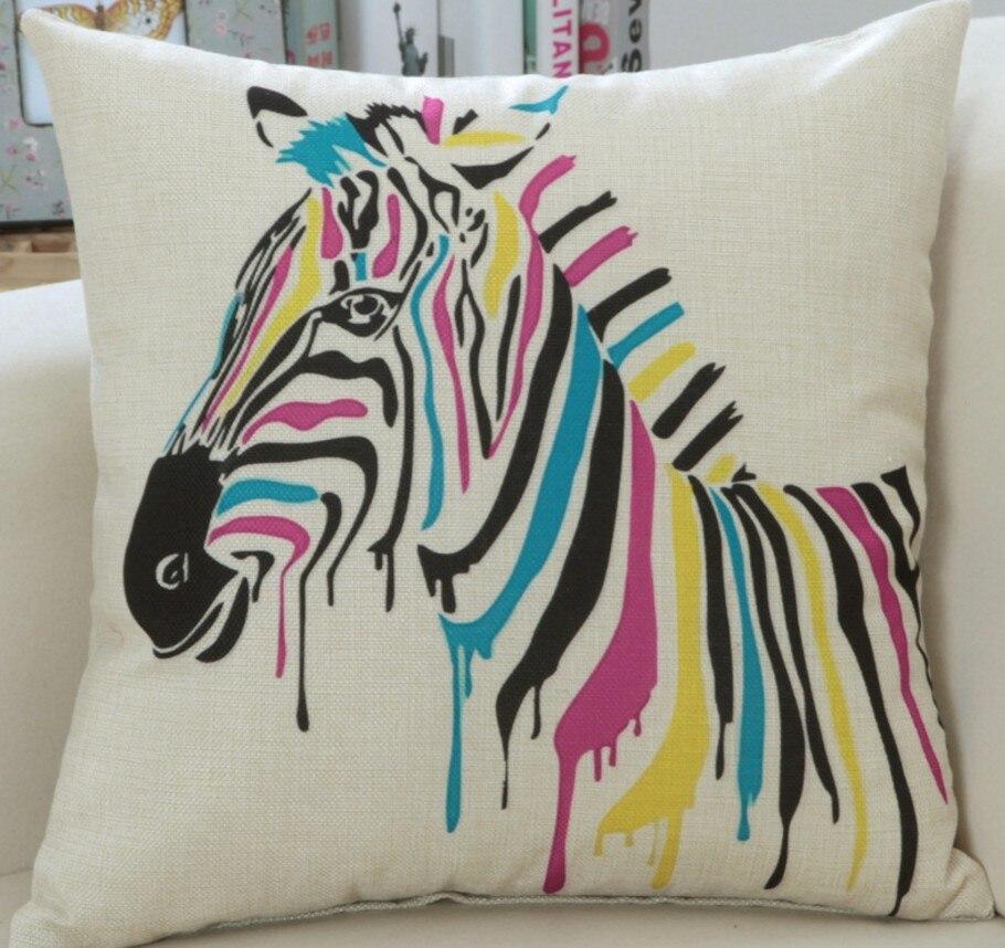 45x45 cm Dier Zebra paard Herten Kleurrijke Print Sierkussen ...