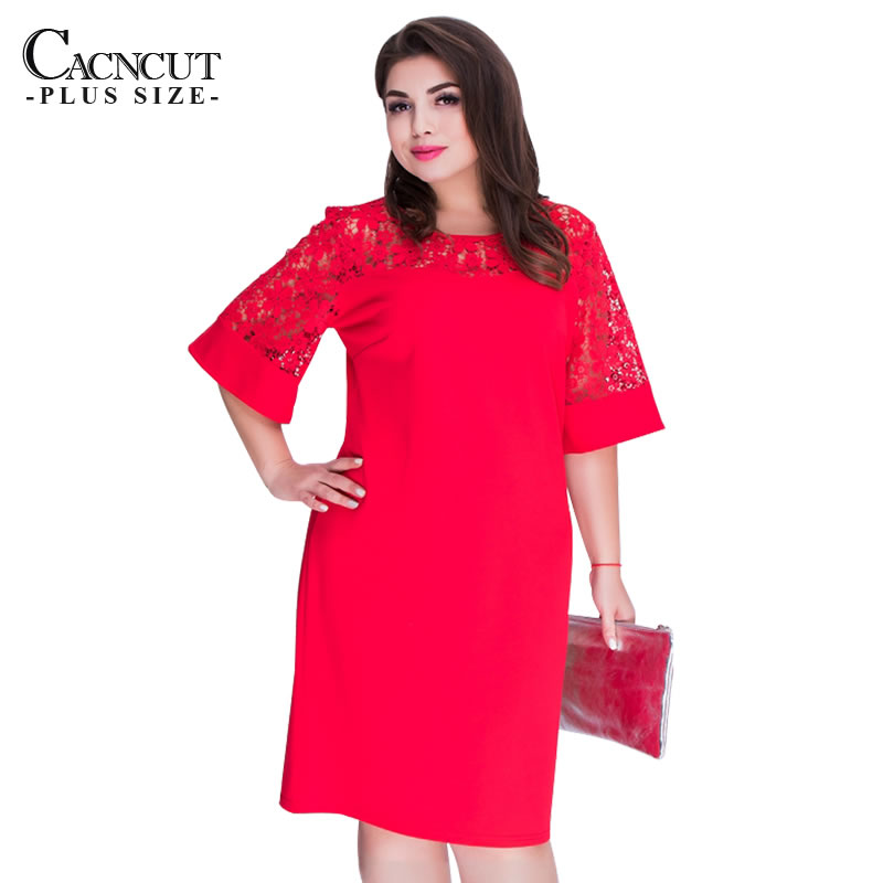 d2e7f2fbbb6e CACNCUT Elegant Lace Big Size Women Dress Hollow Patchwork Short Sleeve  Summer Dresses 2018 Office Ladies Fashionable Dress Red in Pakistan