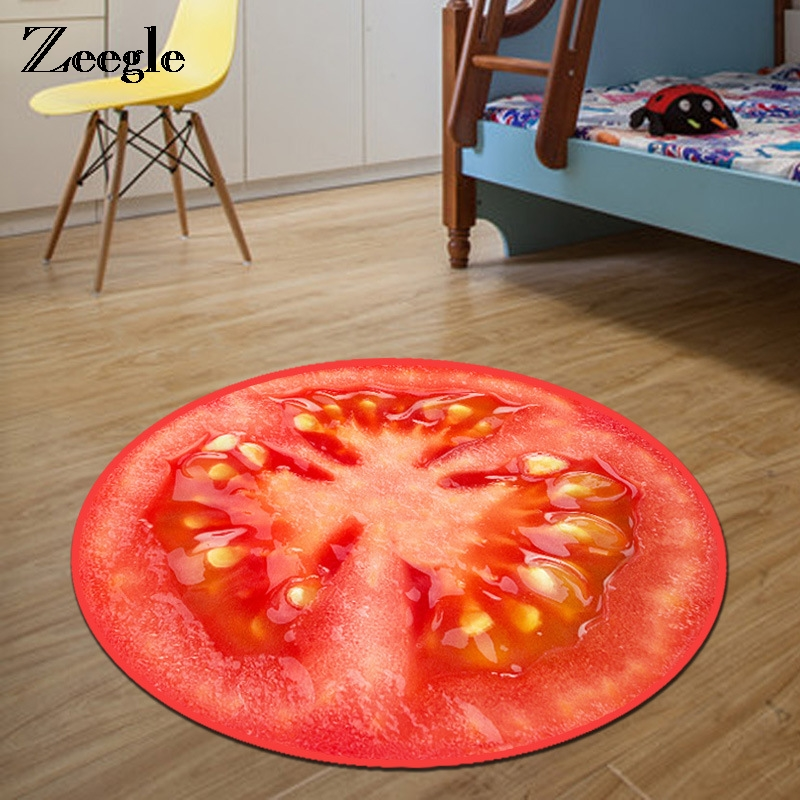 Zeegle 3D Fruit Printed Round Carpet For Living Room Kids Bedroom Rug Welcome Floor Anti-Slip Mats Computer Home Decoration