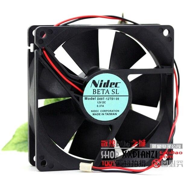 Original 9225 D09T-12TS1 12 V 0.37A 9 CM dois vento fio chassis fonte de alimentação do ventilador