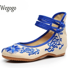 wegogo vintage women shoes flats mary jane flats casual shoes chinese embroidered cloth woman ballerina shoes  41