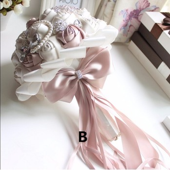 Silk Flower Bouquet | New Arrival 2018 Gorgeous Beaded Crystal Wedding Bouquet Ivory Rose Bridesmaid Flowers Artificial Sapphire Pearl Bridal Bouquets