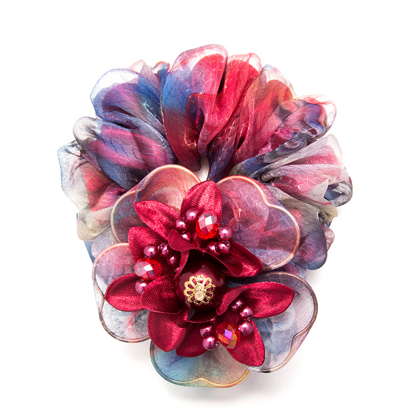 2016 Fashion Headwear Elastic Hair Ring Gauze Flower  For MS  Women  Colorful Headband Ponytail Scrunchie   Accessories