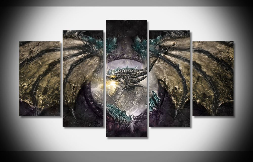 7366 World Of Warcraft Dragon Poster Wood Framed Gallery Wrap Art Print Home Wall Decor Gift
