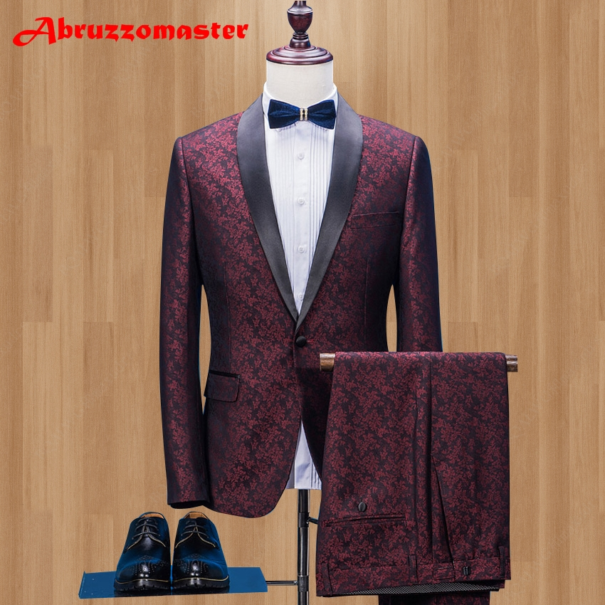 Slim Fit Shawl Lapel Prom Mens Suit With Pants One Button