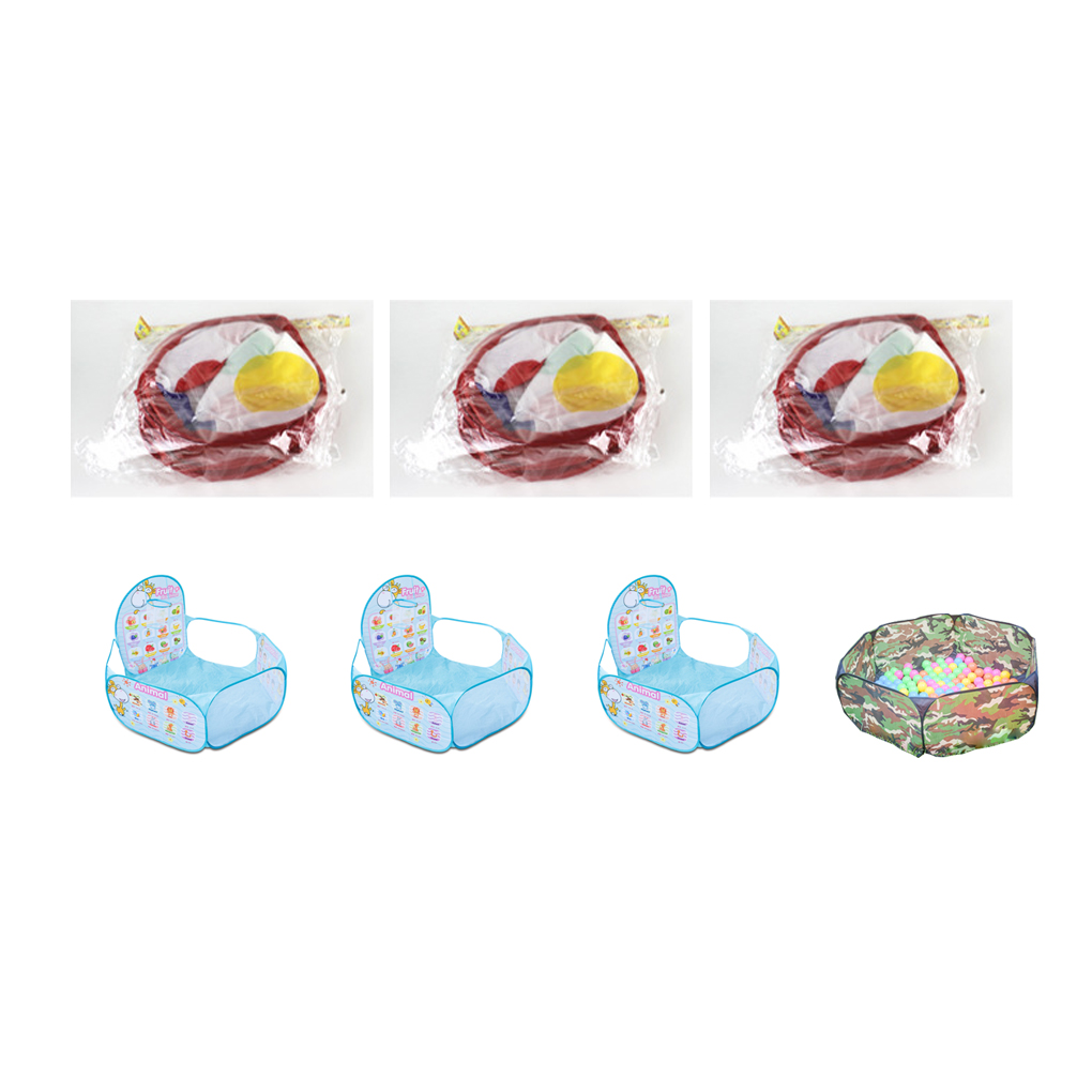 Foldable Childrens Toys Gaming Cartoon Ocean Ball Pool Pit Tent with Basket Outdoor Playhouse Set Toy Kids Baby Basketball Hoop