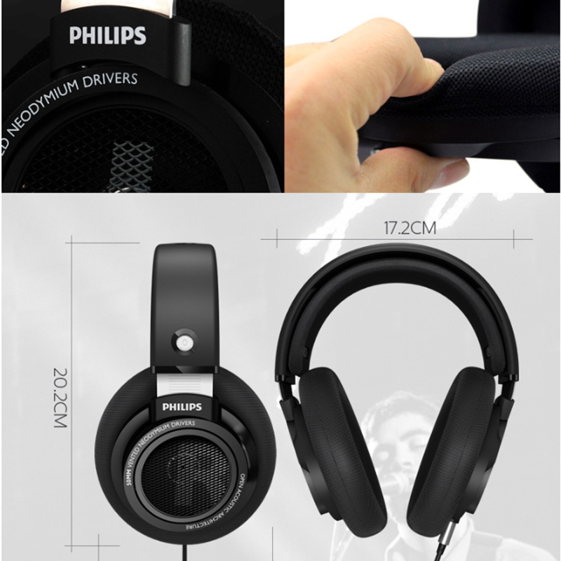 Оригинальные Наушники Philips SHP9500 HIFI, проводные, съемные, 3 м, кабель, гарнитура для Huawei Xiaomi Samsung, ноутбука, поддержка официального тестирования - 4