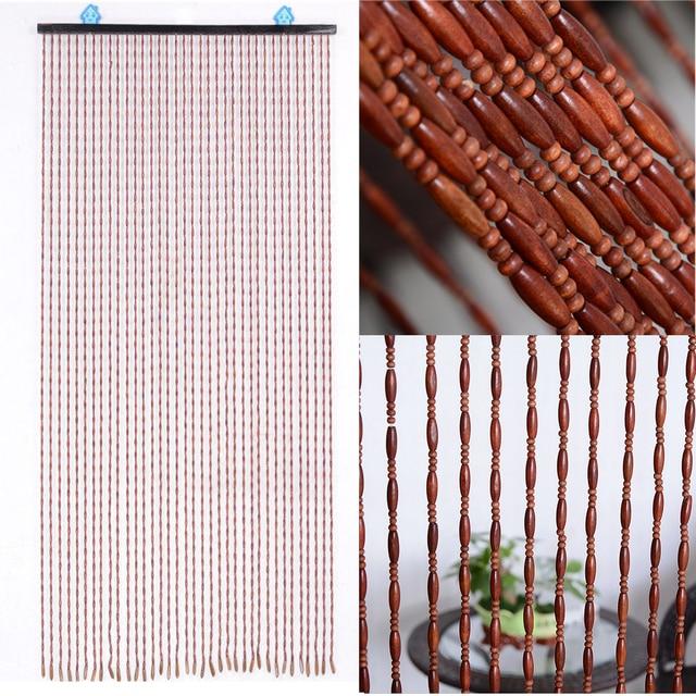 Moda Porta di Legno Porta Tende e tendaggi Fatti A Mano Fly Schermo Perline di Legno Divisorio 90x175cm-38 onda/90x195cm-36 linea