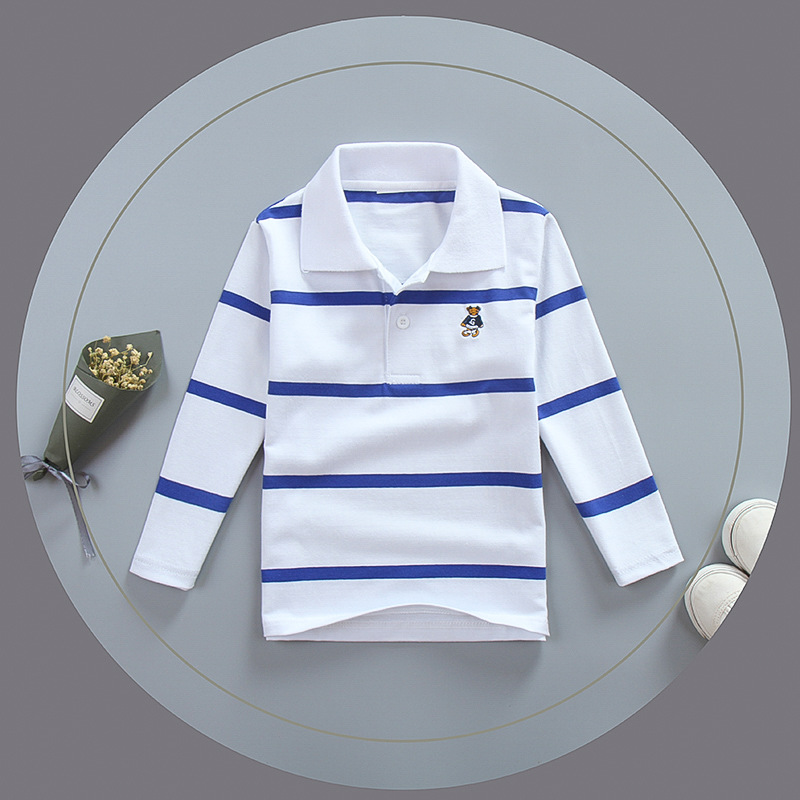 Top quality kids polo shirts white red t shirt baby toddler big boy clothing long sleeve cotton children t-shirts 3 4 5 6 7