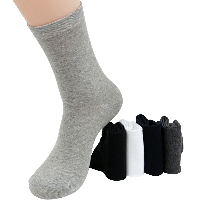 High Quality Autumn Winter Men Black Business Cotton Socks For Male White Casual Long Socks 12PCS=6PAIRS/LOT