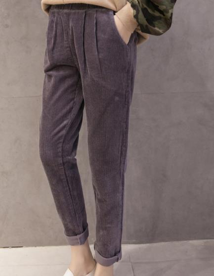 2b59a87d257 Clobee Stripe High Elastic Waist Loose Slim Stretch Harem Pants Straight  Casual 2017 Women Autumn Corduroy Trousers X136-in Pants   Capris from  Women s ...