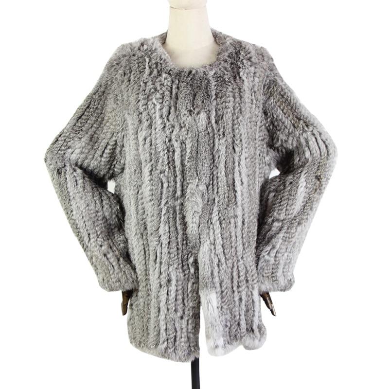 Harppihop 100 Best Quality Rabbit Fur Thick Knitted Coat Natural Rabbit Fur Jacket European Style Fur