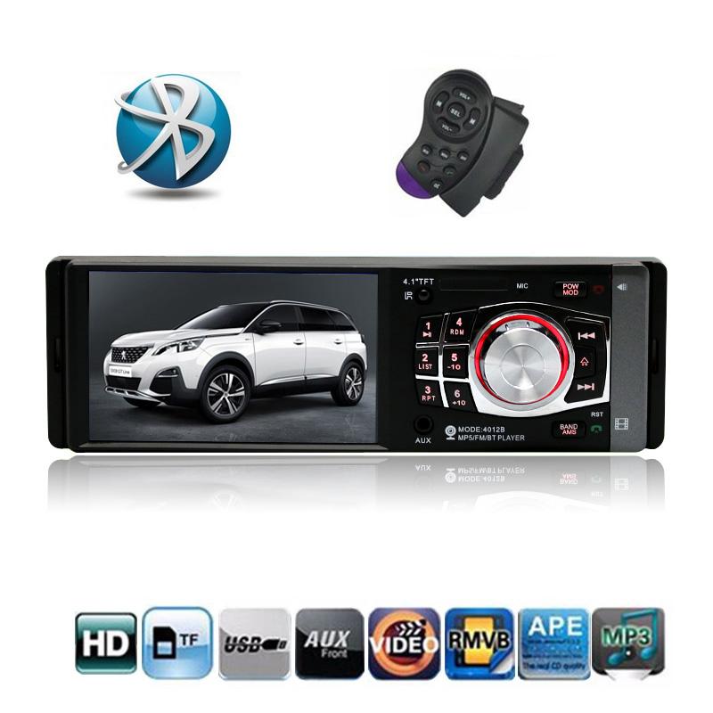 Prix pour 1 DIN Voiture radio avec 4.1 pouce HD Écran Tactile Numérique Bluetooth FM Tuner MP3 MP4 Lecteur SD USB Support de Charge Arrière vue Caméra