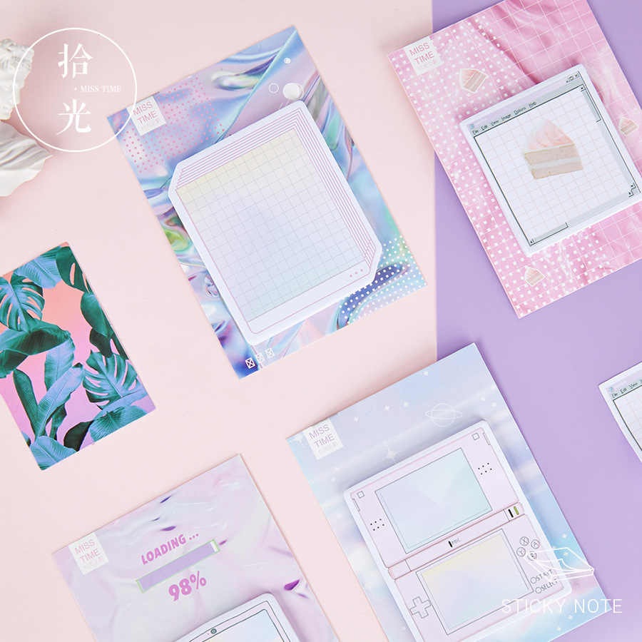 Creative Vapor Wave Self-Adhesive Memo Pad Sticky Notes Notepad Bookmark School Office Supply Stationery Escolar Papelaria