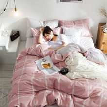 3pcs bed set duvet cover and fitted sheet Nordic Style printed cotton bedding sets capa para edredom 160*210cm size
