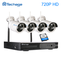 Techage 4CH Videcam Wireless NVR CCTV System P2P 4pcs 720P 1200TVL WIFI IP Camera Waterproof Vedio