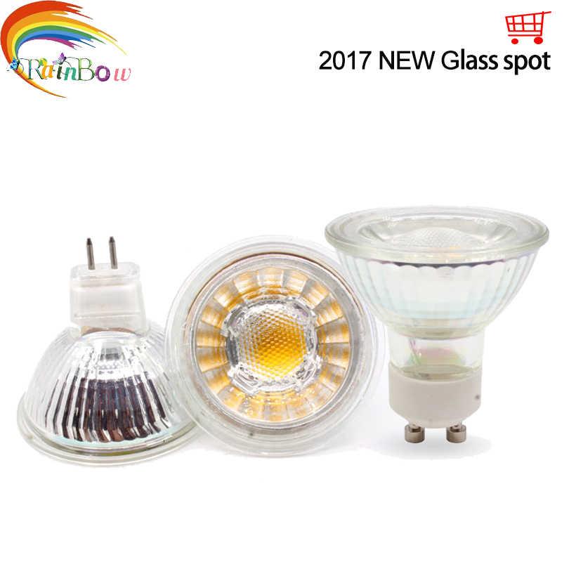 2017 New glass High Power Lampada Led MR16 GU10 COB 5W Dimmable Led Cob Spotlight Warm Cool White MR16 220V Bulb Lamp GU10 Light