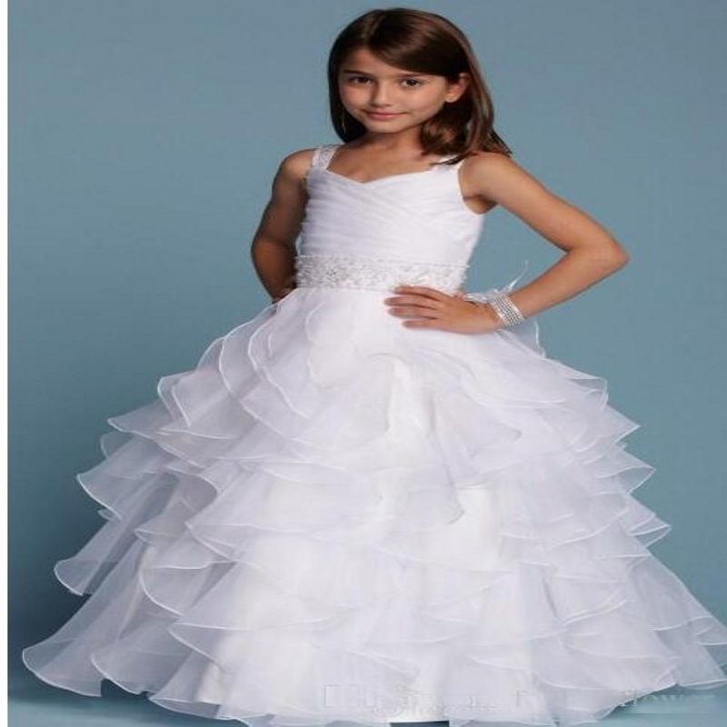 New Arrival 2017 White   Flower     Girl     Dresses   Spaghetti Straps Ruffles Tiered Organza Ball Gowns Custom First Communion   Dresses