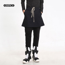 Men's Punk Style Stage Clothing Splice Long Skirt Pants Fashion Harem Pants Male Casual Feet Pants Black Boots Trousers