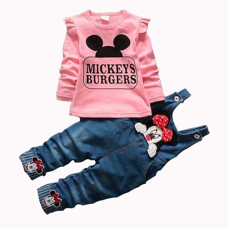Minnie Girls Clothing Sets  Casual Cotton Childrens Suspenders Sets Full Sleeve shirt Jeans 2 Pieces Kids ClothingMinnie Girls Clothing Sets  Casual Cotton Childrens Suspenders Sets Full Sleeve shirt Jeans 2 Pieces Kids Clothing