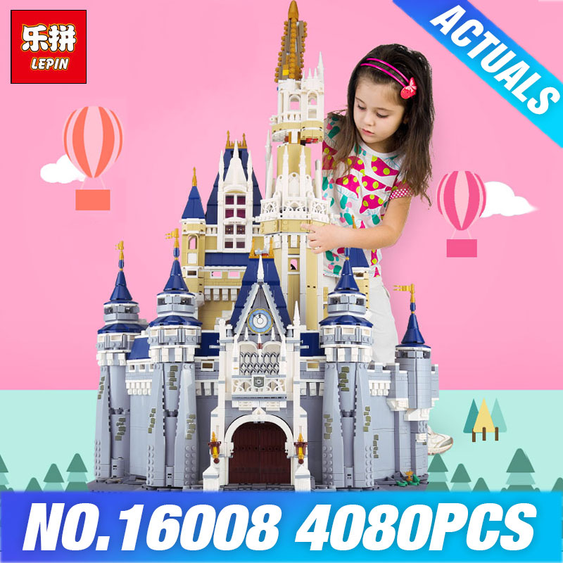 LEPIN 16008 Cinderella Princess Castle City set 4080pcs Model Building Block DIY Toys Birthday Christmas Gifts Compatible 71040 lepin 16008 creator cinderella princess castle city 4080pcs model building block kid toy gift compatible 71040