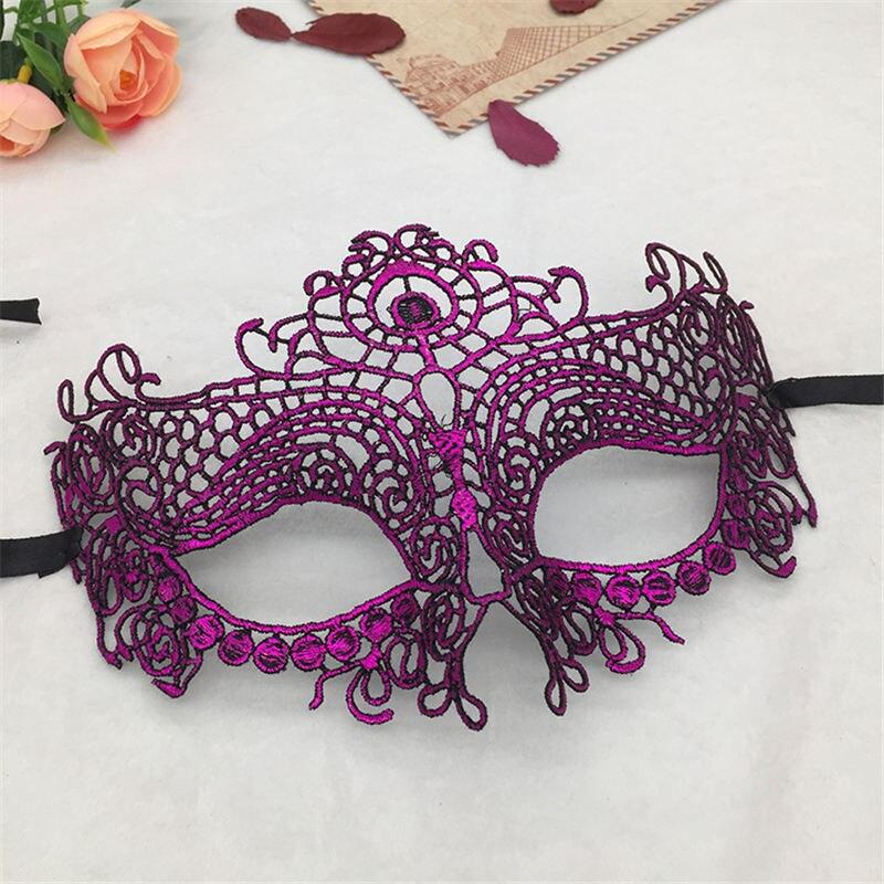 Фиксированная форма, Дамская Сексуальная Маскарадная маска из кружева для карнавала, Хэллоуина, выпускного вечера, Вечерние Маски, фиолетовые, горячее тиснение#35 - Цвет: PM008TZ