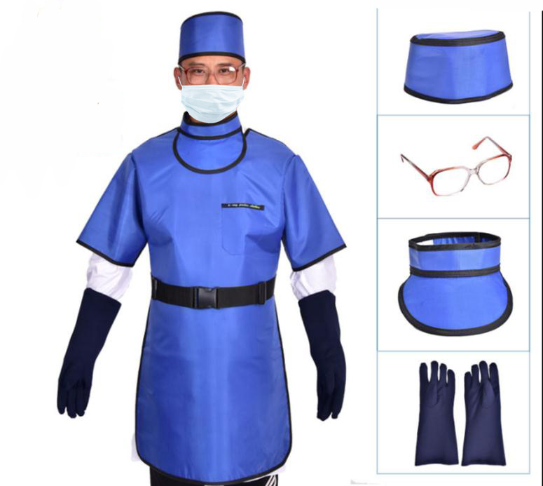 0 5mmpb X ray protective set clothing with hat gloves collars glasses Y ray protective apron