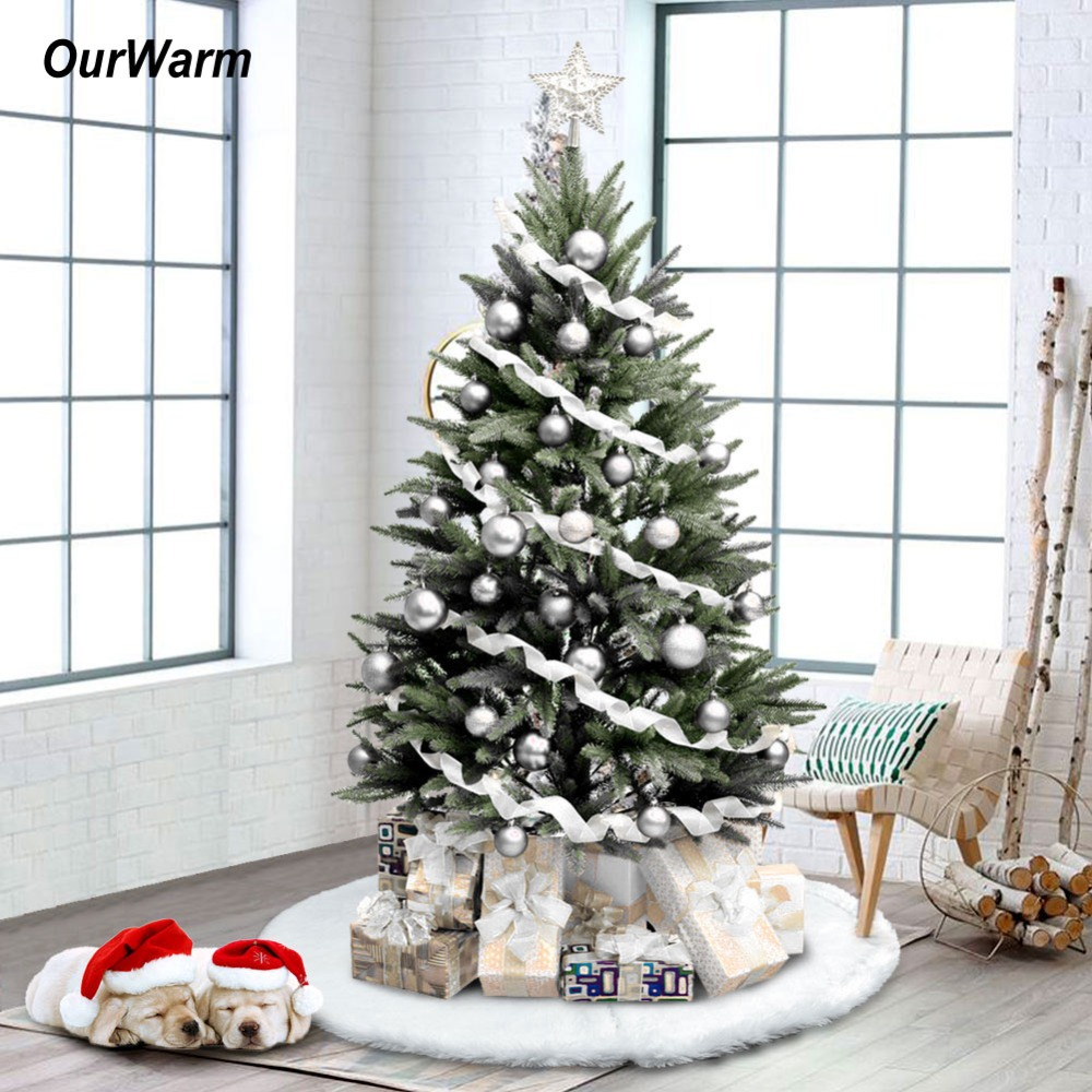 OurWarm 48inch Christmas Tree Skirt Gift Base Faux Fur Xmas Tree Skirt Merry Christmas Gift New Year Decoration For Home White