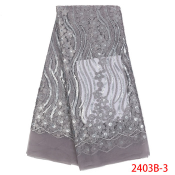 Nigerian Lace Fabric 2018 High Quality Lace Sequins Gray Tulle Lace Fabric Fashionble Nigerian Tulle Lace Fabric AMY2403B-2