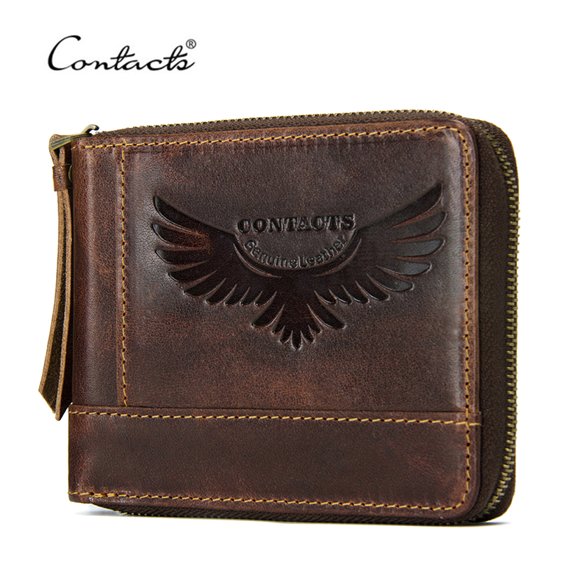 CONTACT'S Genuine Leather Men Wallets Vintage Hasp Coin Purse Pocket With Card Holder Italy Leather Zipper Male Short Wallet simline vintage genuine crazy horse cow leather men men s long hasp wallet wallets purse zipper coin pocket holder with chain