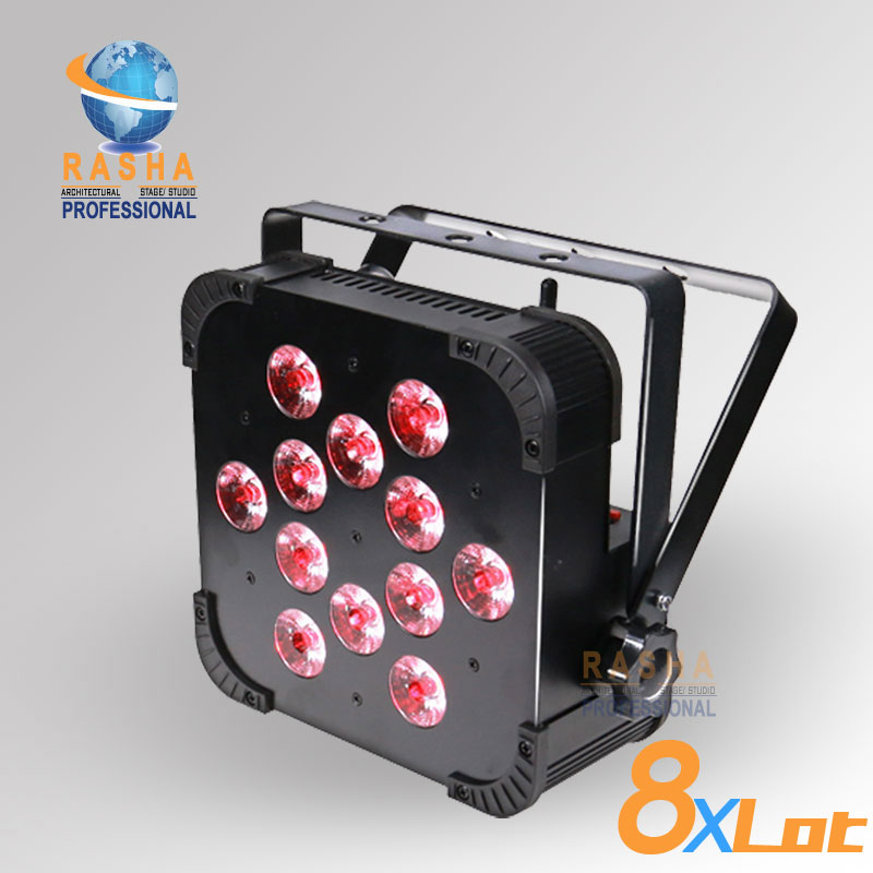 8X LOT Rasha Quad Factory Price 12*10W RGBA/RGBW 4in1 Non-Wireless LED Flat Par Can,Disco LED Par Light For Stage Event Party rasha quad 12x lot 7 10w rgba rgbw wireless led slim par profile led flat par can for stage event party with 12in1 flight case