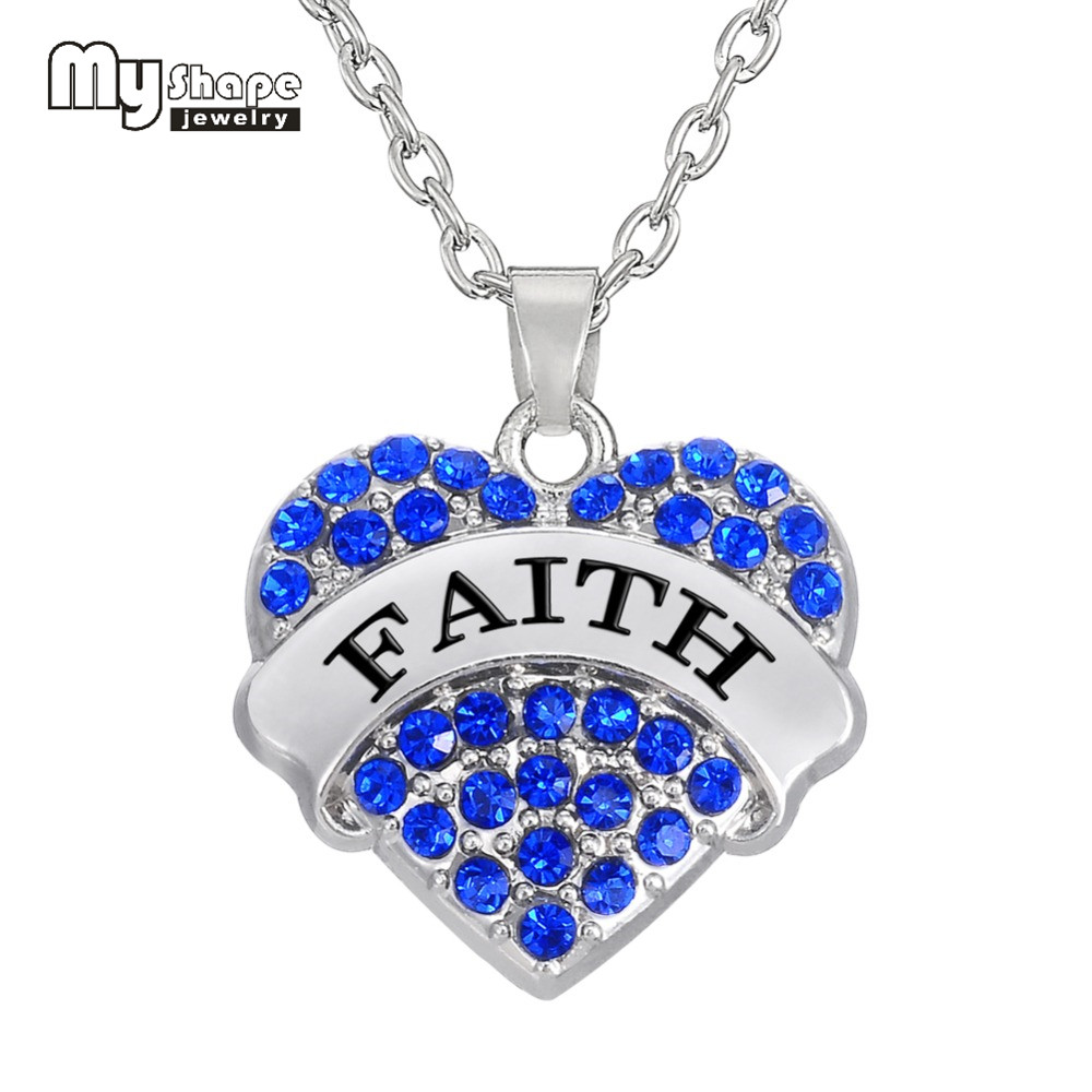 My Shape 20 20mm Faith Inspirational Charms Heart Pendant Necklace Crystal Fashion Women Jewelry