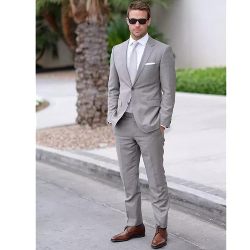 Grey Wedding Suits 2019 Notched Lapel Two Piece Groom Wear( Jacket +Pants )