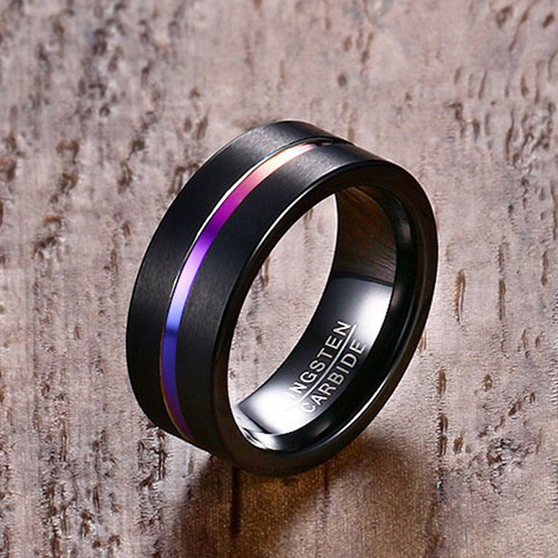 Meaeguet 8MM Wide Black Tungsten Carbide Ring For Men Trendy One Groove Rainbow Fiber Wedding Bands Jewelry USA Size