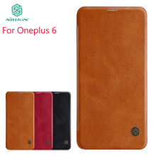 For Oneplus 6 Case NILLKIN pu Leather Flip Cover Smart Phone Sleep Function