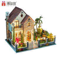 LED Light 3D Miniature Doll House Kit DIY Handmade Agean Sea Wooden Dollhouse Model Toy With