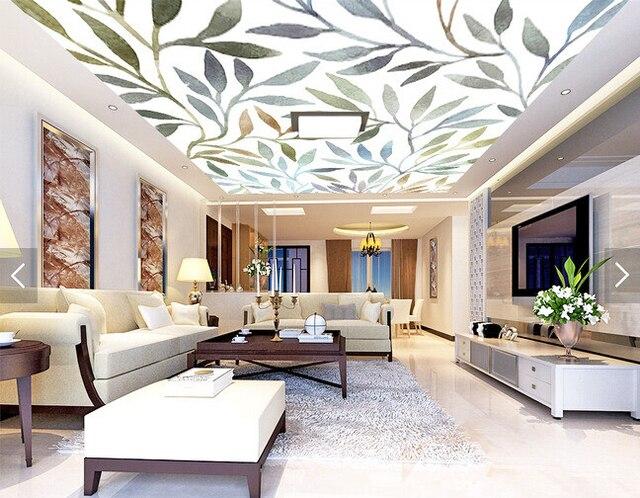 Custom Ceiling Wallpaper Art Watercolor Rendering Leaves For Living