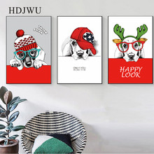 Modern Art Home Decor Canvas Painting Cute Animal Dog Printing Wall Poster for Living Room  DJ71