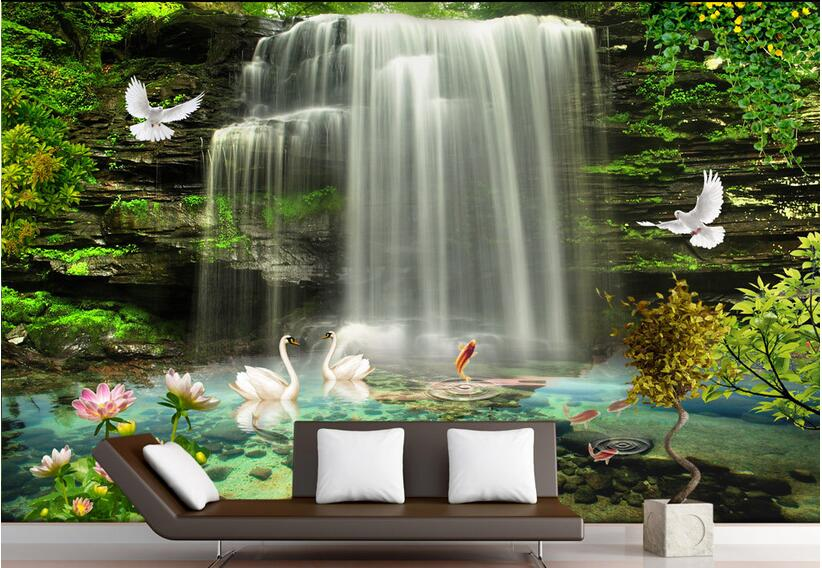 3d room wallpaper custom mural non-woven wall sticker 3 d Natural beautiful waterfall  painting photo wallpaper for walls 3 d custom baby wallpaper snow white and the seven dwarfs bedroom for the children s room mural backdrop stereoscopic 3d