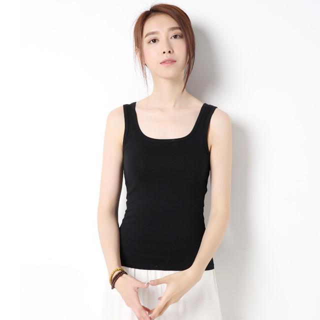 3ce6baaa73 Women Built In Padded Bra Tank Top Breathable Cotton Camisole Solid Casual  Basic Shirt Women Tops Bra Vest Summer Underwear