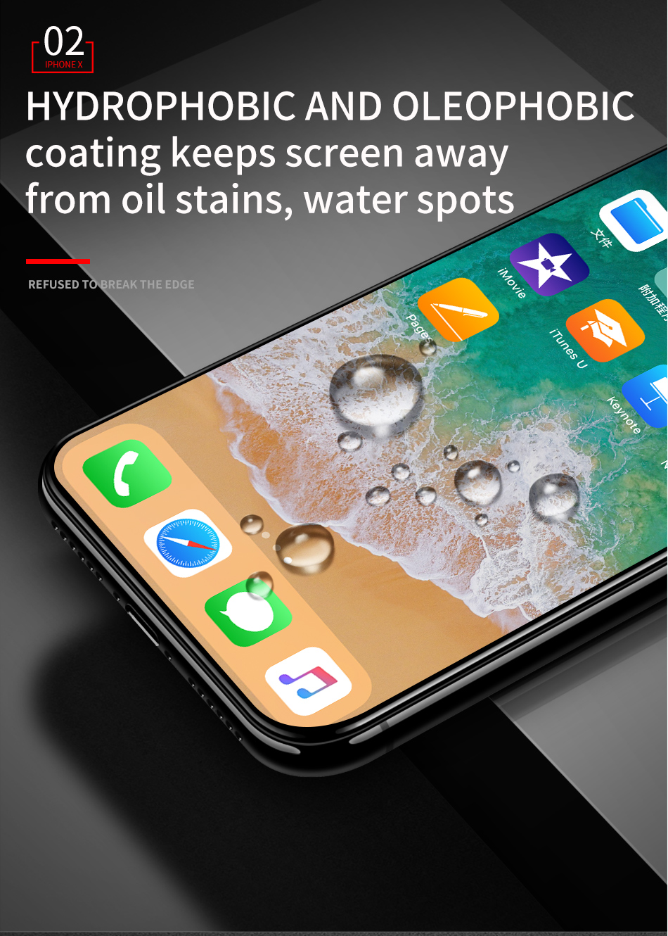 BR 0 23mm 3D Curved Full Cover Screen Protector For iPhone X