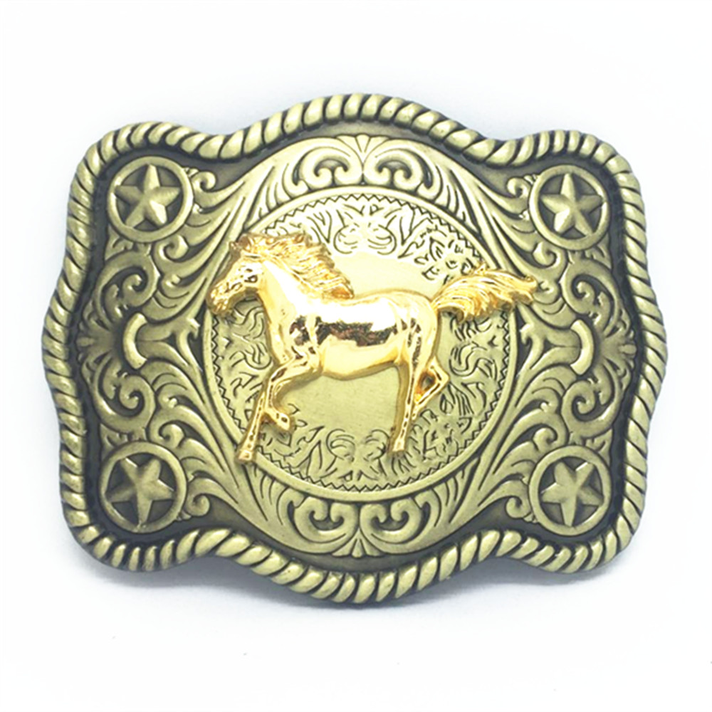 Cowboy Excitation Mode Wear-resisting Zinc Alloy Belt Buckle The Horsehead Is Suitable For Restoring Ancient Ways With 4.0