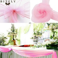 BITFLY 50pcs Organza Chair Sashes Bow Cover and 1pcs 5M*1.35M sheer organza Swag fabric diy For Wedding Events &Party Decoration