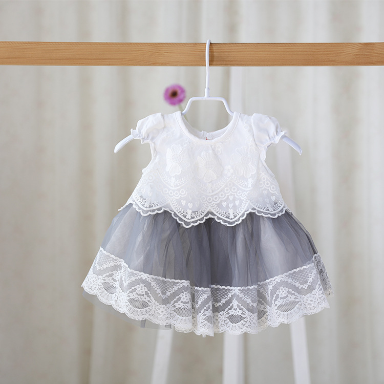 82e0799d62d1 Pink Gray Brand Idea 2016 baby lace princess dress Sweet Girl infant ...